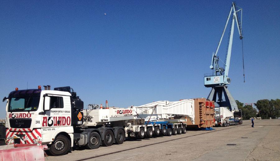 Transporte, autodescarga y ripado de transformador.Córdoba, Puerto Sevilla.Aguado