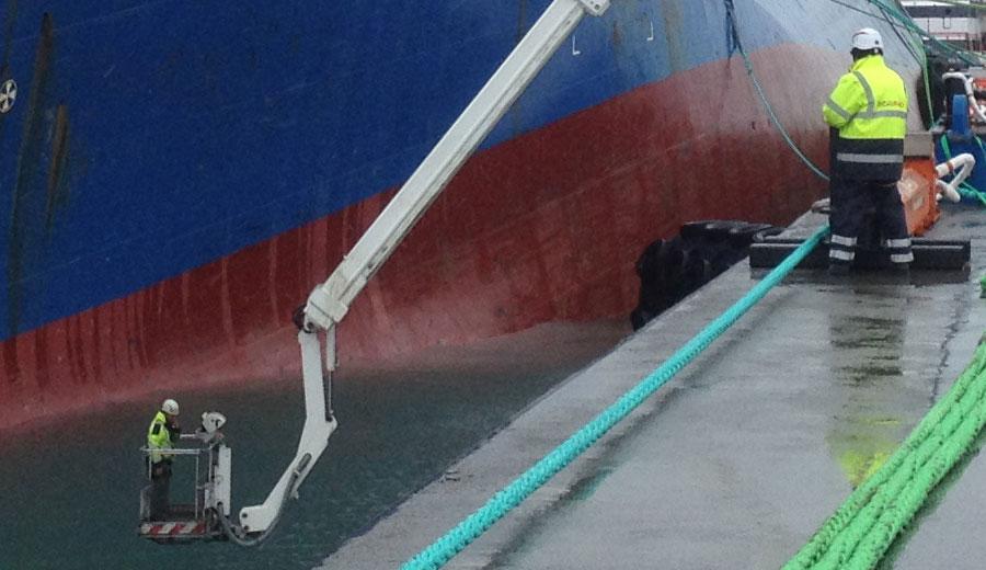 Plataforma elevadora para rescate de barco, Aguado.